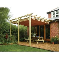 Retractable pergola outdoor awning. I am thinking diy. 1. Build structure. I know I have recycled wood to use. 2. to make retractable I am thinking about using the sliding closet door parts (if I can make it work.) The only money I should have to spend will be the outdoor fabric. I think....Would use recycled pvc pipe to hang fabric and attach to rollers...just a thought in process:)