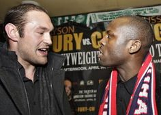 During a press conference to officially announce the NBC broadcast of the Tyson Fury (L) vs. Steve Cunningham (R) fight, which is scheduled to take place the afternoon of April 20th at the Theater at Madison Square Garden, a heated exchange ensued between Fury and Cunningham. This photo above clearly captures the continued antagonism that took place during the customary post press conference face off photo session. There is no love lost between the two heavyweight contenders............