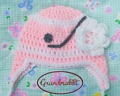 Baby Girls Crocheted PINK HOCKEY HELMET Hat Ideal for Photo Prop Size Preemie/ Newborn/ 3 up to 6 Months on Etsy, $15.00