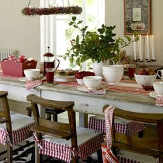 dining room...love the red and white and chair covers!