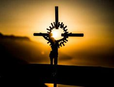 cruz, cristo, dios, sunset