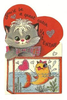 """You'd be a Great Catch Valentine"" vintage valentine card"