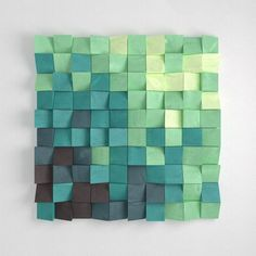 Wood Wall Sculpture  'Tropical Aqua' 3D Effect Pixel by WoodFranz