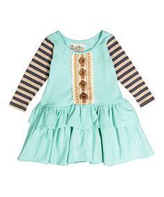 This Aqua Stripe-Sleeve Ruffle Dress - Infant, Toddler & Girls by Sado is perfect! #zulilyfinds