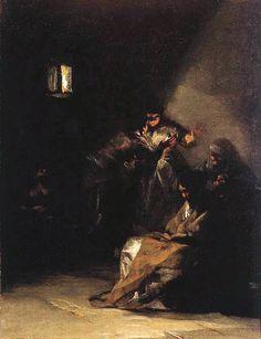 "Francisco de Goya: ""Interior de prisión"". Oil on canvas, 40 x 32 cm, c. 1808-12. Marqués de la Romana Collection, Madrid, Spain Spanish Painters, Spanish Artists, Johannes Vermeer, Caravaggio, Paul Gauguin, Mark Rothko, Art Espagnole, Black And White Painting, Realism Art"
