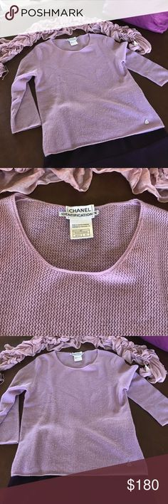 Chanel Cashmere Sweater Authentic Chanel 100% Cashmere 3/4 length sleeve sweater. Lavender soft and sweet, light enough for my Florida winters or warm enough for cold northern winters. Never worn, mint condition. CHANEL Sweaters Crew & Scoop Necks