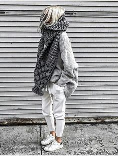 Casual comfortable knitted autumn outfit two-piece. , : Casual comfortable knitted autumn outfit two-piece. Cozy Fall Outfits, Winter Fashion Outfits, Autumn Winter Fashion, Casual Outfits, Fall Winter, Fashion Clothes, Winter Scarf Outfit, Hipster Outfits Winter, Fashionable Outfits