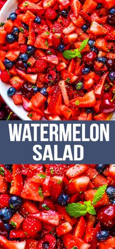 Super refreshing watermelon salad recipe to enjoy on a hot summer day with a delicious fruit salad dressing! Super refreshing watermelon salad recipe to enjoy on a hot summer day with a delicious fruit salad dressing! Watermelon Salad Recipes, Best Fruit Salad, Summer Salads With Fruit, Summer Dishes, Recipe With Watermelon, Summer Party Salads, Salad With Fruit, Fruit Sald, Healthy Summer Dinner Recipes