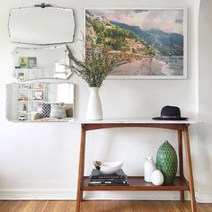 by Not sure which we love more, her console or her insta-name. Diy Furniture Ikea, Apartment Furniture, Apartment Ideas, Decorating Small Spaces, Decorating On A Budget, Interior Decorating, Sitting Room Decor, Inspired Homes, Wall Decor