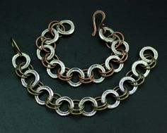 Mixed Metal Linked Bracelet by MaggieJs on Etsy, $85.00
