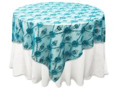 "72""x72"" Extravagant Fashionista Table Overlays - Turquoise Lace Netting"