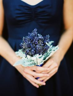 navy dress and little blue flowers