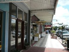 Little shops on Woodland Boulevard downtown DeLand, Florida