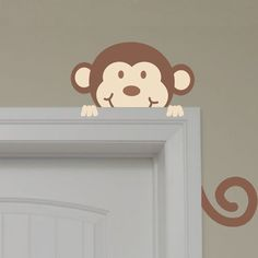 Very Cute Safari Peeking Monkey Wall Decal by onehipstickerchic, $17.95