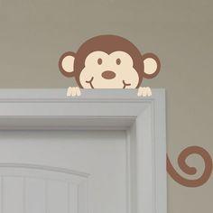 Very Cute Safari Peeking Monkey Wall Decal by onehipstickerchic, $17.95