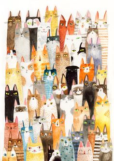 Cats cats print lots of colorful cats A3 print by SurfingSloth