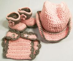 This is a baby girl crochet 3 pc cowgirl set consisting of a hat, diaper cover and boots.they are made of which makes them easy ti care for Acrylic yarn is machine washable but I prefer to hand was and lay flat to dry. they stay looking newer this way  Available in many sizes. . If you have an...