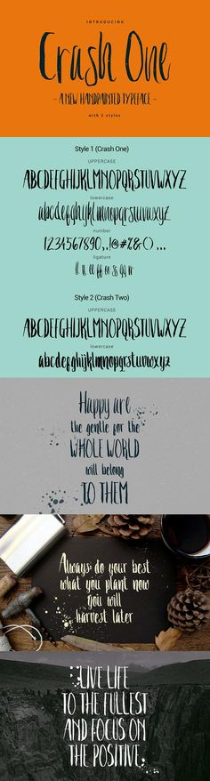 Free Crash One #Typeface is a unique and #trendy brush font. This font will look awesome on all your branding materials, logo's, cards, quotes, and any other amazing projects you are working on. This #font contains standard characters, lowercase, uppercase, numbers, punctuation, ligatures, and international characters.
