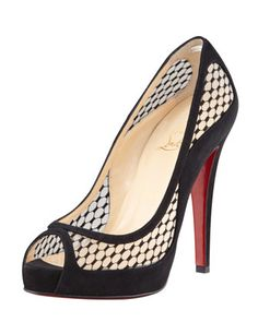 6e5480375420 Camilla Fishnet Suede Platform Red Sole Pump by Christian Louboutin at  Bergdorf Goodman.  995 Crazy
