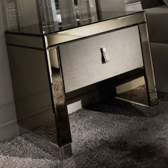 Modern Mirrored Alligator Embossed Effect Leather Bedside Table