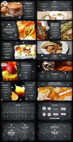 Envato Restaurant/ Cafe Promo/ Modern Bar Menu/ Fast Food/ Vegetarian Dish/ Meal Delivery/ Lunchroom by Cafe Menu, Menu Restaurant, Restaurant Recipes, Restaurant Design, Restaurant Identity, Menu Digital, Digital Menu Boards, Brochure Food, Webdesign Inspiration