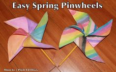 Spring Craft: Easy Kid's Pinwheel! Maybe you can use yarn or staples to hold paper in place instead of a sharp pin.