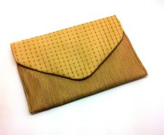 Gold Envelope Bag Clutch Coin Purse Wallet Gift for Women Check Pattern Silk Cotton Magnetic Snap Leather Notebook, Leather Books, Leather Journal, Handmade Notebook, Handmade Books, Leather Jewelry, Leather Purses, Coin Purse Wallet, Coin Purses