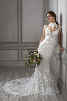 This compelling mermaid gown features a high, illusion neckline with lace appliques placed in all the right places. The back is open, adding additional drama. The back skirt features a rich lace godet. Wedding Dress Mermaid Lace, Fitted Wedding Gown, Wedding Dress Types, Long Wedding Dresses, Perfect Wedding Dress, Mermaid Dresses, Bridal Dresses, Bridesmaid Dresses, Mermaid Gown