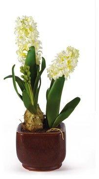 Hyacinth with Glazed Pot Silk Flower Arrangement traditional-artificial-flower-arrangements