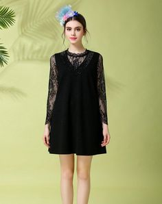 Black Mock Two Pieces Lace Mini Dress Plus Size, Black, OUYALIN | VIPme