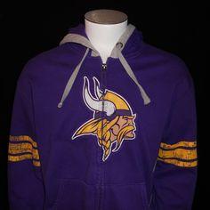 Minnesota Vikings Hoodie LG Intimidating V Zip Hooded Sweatshirt NFL Football #NFLTeamApparel #MinnesotaVikings