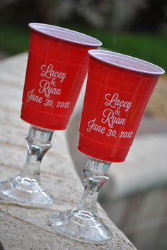 Red Neck Solo Cups for the Bride and Groom. These make a great photo op!