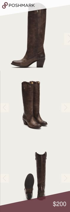 """Frye Women's Jackie Button Boot 8.5 Only worn 1 time. In perfect condition. A stunning display of classic style, this knee-high boot steps right off the polo field into the party. Washed antique pull up leather is hand burnished to perfection and embellished with our signature buttons at the pull tabs. Truly a boot that becomes more beautiful with age.   - Italian leather - Leather lined - Leather with rubber outsole - Antique metal hardware - 16"""" shaft height - 14"""" shaft circumference - 2…"""