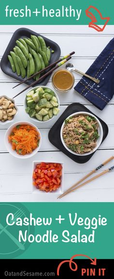 Creamy Cashew Noodle Sauce over soba noodles.  Tossed with toasted cashews, fresh vegetables and cilantro.  A super healthy meal that travels well! | recipe at OatandSesame.com