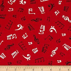 Kaufman In Tune Music Notes Red Fabric By The Yard Robert…