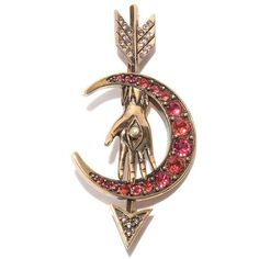Alexander McQueen Arrow and Moon Brooch ($170) ❤ liked on Polyvore featuring jewelry, brooches, alexander mcqueen jewelry, alexander mcqueen, swarovski crystal brooch, pearl brooch and pearl jewelry