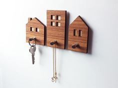 3 in 1 Little houses wall hooks, keys holder, necklace holder, small items holder