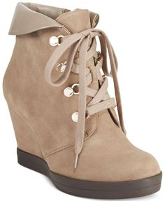 Anne Klein Joely Lace-Up Wedge Booties