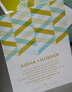 SYNTHESIS | Umi 2, Letterpress Wedding Invitations | Elum Designs, Letterpress Stationery, Invitations & Curator of Designer Paper Goods. Nothing short of small works of art. Patterned invitations, green and blue, geometry and perspective, masculine and feminine, blue and yellow