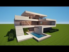 Kleines Und Einfaches Modernes Haus In Minecraft Leichtes Haus - Minecraft hauser mit bauplan