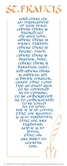 Peace Prayer of St. Francis, Calligraphy Art Plaques & Inspirational Gifts by Michael Noyes