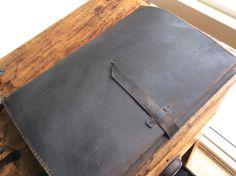 Dupont portfolio case handmade leather bag by LUSCIOUSLEATHERNYC