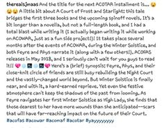 SJM instagram annousmence A Court of Frost and Starlight