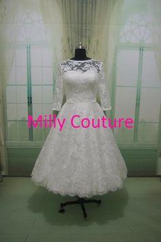 Isabella- Lace short wedding dress, Retro inspired Tea Length Wedding Dress, 1950 wedding dress, 50s style wedding dress