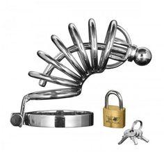 Asylum 6 Ring Locking  Chastity Cage - Small-medium