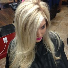 Creamy blonde with caramel lowlights