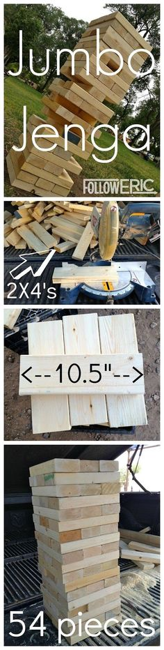 Jumbo Jenga - paint these red, white and blue and it would be perfect for a of July party game! fun ideas How to Make a DIY Giant Jenga Game Backyard Games, Backyard Bbq, Wedding Backyard, Backyard House, Backyard Playground, Diy Wedding Yard Games, Garden Wedding, Wedding House, Outdoor Parties