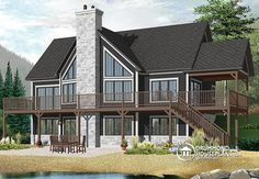 REMARKABLE PANORAMIC VIEW COTTAGE WITH TERRACE Plan de Chalet pour bord de lac ou montagne, 1 à 5 chambres, beaucoup rangement, grand deck (# 3919-V1) http://www.drummondhouseplans.com/house-plan-detail/info/the-lakeshore-cottages-chalets-1003073.html