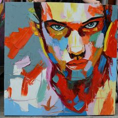 Figure Portrait Palette Knife Face Wall Art Oil Painting On Canvas Hand Painted #Abstract