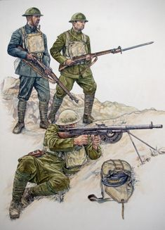 U.S.ARMY 1917 - The upper left is a U.S. Marine in early field dark green uniform. The other two soldiers are Army troopers.